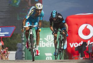 Forced to ride for time on yesterday's stage, Chris Froome (right) saw Fabio Aru take stage glory but he moved up to second overall at the Vuelta. JAIME REINA/AFP/Getty Images