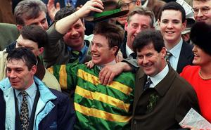 Charlie Swan and JP McManus celebrate winning the Smurfit Champion Hurdle at Cheltenham in 1998. Matt Browne/SPORTSFILE.