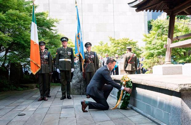 Taioseach Leo Varadkar at a wreath-laying ceremony for Irish peacekeepers at UN headquarters in New York yesterday