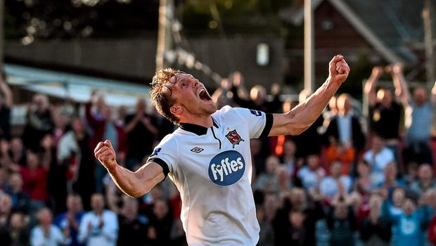 26 June 2015; David McMillan, Dundalk, celebrates after scoring his side's third goal. SSE Airtricity League Premier Division, Dundalk v Limerick FC, Oriel Park, Dundalk, Co. Louth. Picture credit: David Maher / SPORTSFILE