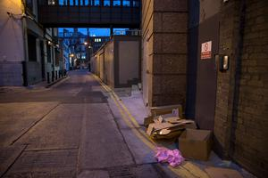 Dawson Lane in Dublin, where the body of a homeless man was found on Friday morning. Picture:Arthur Carron