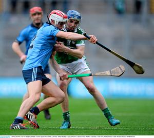 28 March 2015; Cian O'Callaghan, Dublin, in action against Sean Tobin, Limerick. Allianz Hurling League, Division 1, Quarter-Final, Dublin v Limerick. Croke Park, Dublin. Picture credit: Brendan Moran / SPORTSFILE