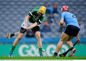28 March 2015; David Breen, Limerick, attempts a shot on goal under pressure from Cian O'Callaghan, Dublin. Allianz Hurling League, Division 1, Quarter-Final, Dublin v Limerick. Croke Park, Dublin. Picture credit: Brendan Moran / SPORTSFILE