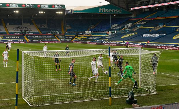 Leeds United's Patrick Bamford scores his sides second goal of the game during the Premier League match at Elland Road, Leeds.