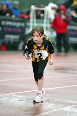 Aine Ryan from Kilkenny U10 Mixed Relay Heat 1 at HSE Community Games in AIT Athlone. Photo molloyphotography