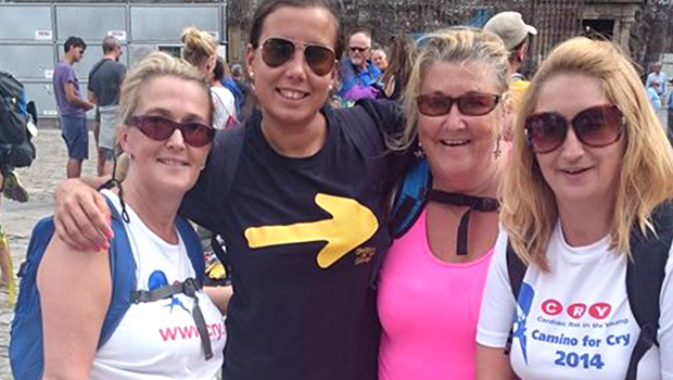 Lucia Ebbs (centre, with blue t-shirt) and friends on the Camino in 2014.