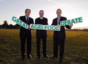 10/3/2016 Over 200 students and representatives of the Irish agri-food industry took to the UCD Garret Fitzgerald Debating Chamber this evening for the first annual Great Agri-Food Debate co-sponsored by Dawn Meats and McDonald's Ireland. Pictured at the debate are judges, left to right, Aidan Cotter, CEO of Bord Bia, Adrian Crean, MD of McDonald's Ireland, and Niall Browne, CEO of Dawn Meats. Photo: Mark Stedman/Photocall Ireland