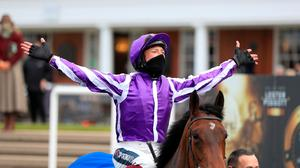 Frankie Dettori celebrates after winning the Qipco 1000 Guineas Stakes on Mother Earth