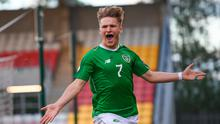 Matt Everitt of Republic of Ireland celebrates after scoring his side's first goal during the 2019 UEFA European Under-17 Championships Group A match between Republic of Ireland and Greece at Tallaght Stadium in Dublin. Photo by Stephen McCarthy/Sportsfile