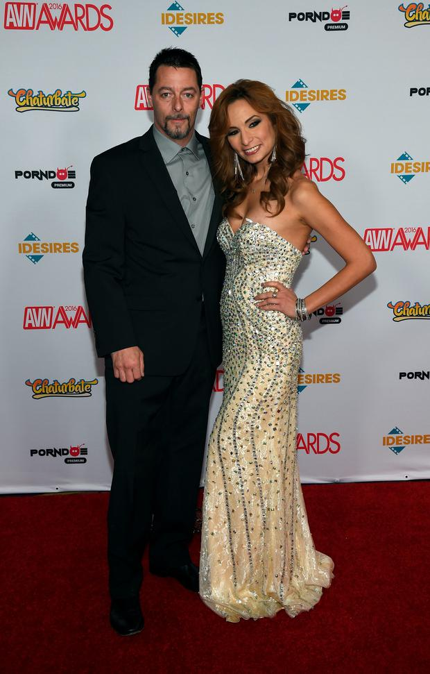 Adult film actor Jack Vegas (L) and adult film actress Amber Rayne attend the 2016 Adult Video News Awards at the Hard Rock Hotel & Casino on January 23, 2016 in Las Vegas, Nevada. (Photo by Ethan Miller/Getty Images)