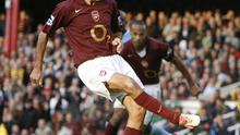 Robert Pires was left red-faced after this penalty routine