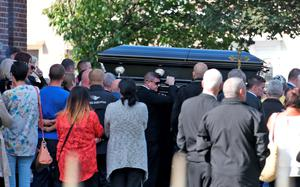 The body of Gerard 'Hatchet' Kavanagh, who was shot dead in Harmons Irish Bar in the Costa del Sol, Spain two weeks age is carried from the Church Of Our Lady Of Good Council, Drimnagh this afternoon after his funeral mass. Picture Colin Keegan, Collins Dublin.