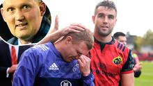 Conor Murray with Keith Earls after Glasgow game last year and (inset) Doddie Weir