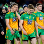 25 January 2020; A disappointed Ciarán Thompson and Conor Morrison of Donegal after the Allianz Football League Division 1 Round 1 match between Donegal and Mayo at MacCumhaill Park in Ballybofey, Donegal. Photo by Oliver McVeigh/Sportsfile