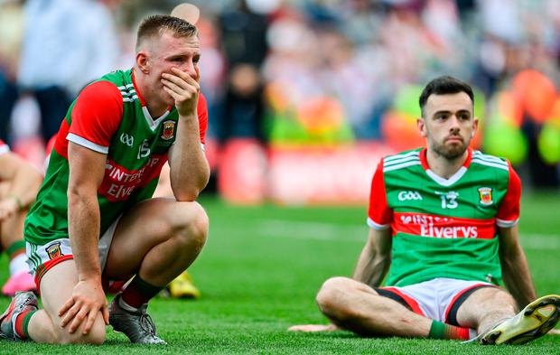 A dejected Ryan O'Donoghue and Kevin McLoughlin of Mayo after the All-Ireland Senior Football Championship final at Croke Park in Dublin. Photo by Brendan Moran/Sportsfile