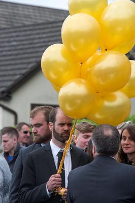 Ana Hick's father Tim holds balloons at her funeral mass in the Church of the Assumption, Dalkey  Pic:Mark Condren 20.5.2015