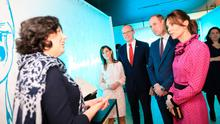 """A first edition copy of James Joyce's novel """"Ulysses"""" being shown to the Duke and Duchess of Cambridge, during a reception held by Tanaiste, Simon Coveney Photo credit: Julien Behal Photography/PA Wire"""