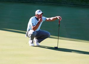 Jason Day lines up a putt on the 17th hole during the third round at Conway Farms Golf Club. Credit: Brian Spurlock-USA TODAY Sports