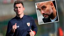 Athletic Bilbao's French defender Aymeric Laporte and inset (Pep Guardiola)