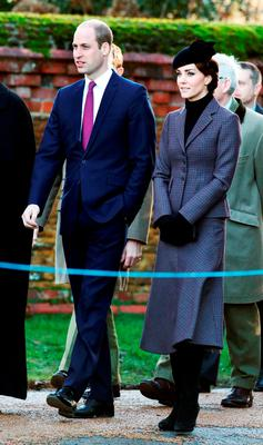The Duke and Duchess of Cambridge  arrive for a service to mark the 100th anniversary of the end of the doomed First World War Gallipoli campaign at the Sandringham war memorial cross