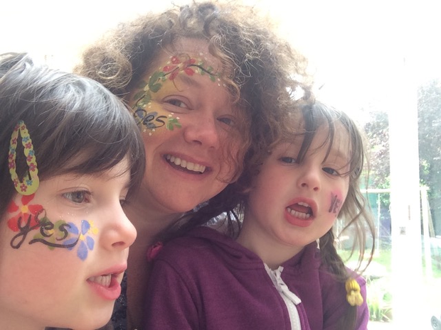 Linda Cullen and her daughters during the marriage referendum