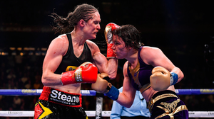 Delfine Persoon, left, pictured during her World title defeat to Katie Taylor in New York last June. Photo: Sportsfile