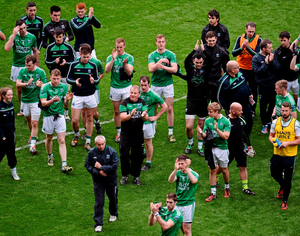 Success-starved Fermanagh applaud their supporters after annialation by Dublin at Croke Park