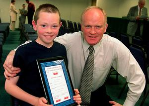 Legendary Dublin footballer Barney Rock with his son Dean back in 2001 after the current Dublin star won an Evening Herald Juvenile Award in 2001. Photo: Ray Cullen