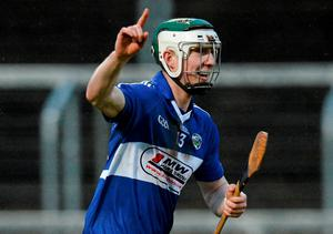 Ross King celebrates scoring Laois' second goal late in the game