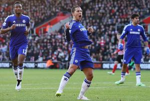 Chelsea's Eden Hazard celebrates scoring his goal during the Premier League match between Southampton and Chelsea at St Mary's Stadium. Scott Heavey/Getty Images