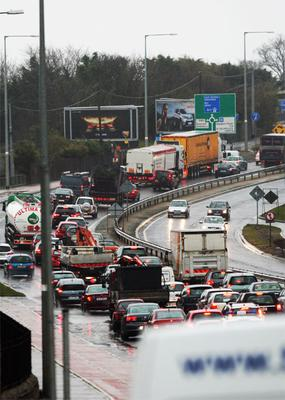 Traffic chaos on the M11 due to tailbacks from flooding. Photo: Ray Cullen