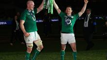 Paul O'Connell and Brian O'Driscoll celebrate the 2014 Six Nations Championship.