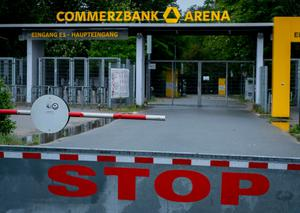 The main entrance of the Commerzbank Arena is closed in Frankfurt, Germany. The next Bundesliga soccer match after the break due to the coronavirus between Eintracht Frankfurt and Borussia Moenchengladbach is supposed to take place there on Saturday. (AP Photo/Michael Probst)