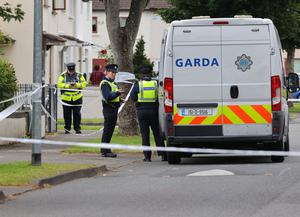 Garda at the scene at Whitechapel road in Clonsilla where a man in his 70s was stabbed to death. Picture Credit: Frank McGrath