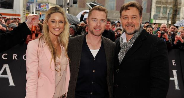 Storm Keating, Ronan Keating and Russell Crowe attends the Irish Fan Premiere of