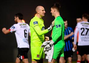 Dundalk goalkeeper Gary Rogers with Athlone Town goalkeeper Paddy Martin following during the Extra.ie FAI Cup Semi-Final. Photo by Stephen McCarthy/Sportsfile
