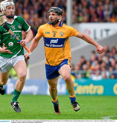 24 May 2015; Cian Lynch, Limerick, in action against Domhnall O'Donovan, Clare. Munster GAA Hurling Senior Championship Quarter-Final, Clare v Limerick. Semple Stadium, Thurles, Co. Tipperary. Picture credit: Ray McManus / SPORTSFILE