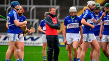 Laois hurling boss Eddie Brennan, with his players on Sunday for the game against Dublin, has discovered the O'Moore jersey doesn't appeal to every hurler in the county. Photo: Brendan Moran/Sportsfile