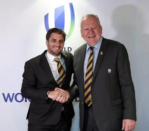 Agustin Pichot, left, and Bill Beaumont are competing to be elected World Rugby chairman. Photo by Stephen McCarthy/Sportsfile