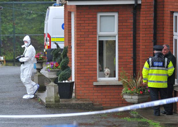 Pictured is the house where Gardai have discovered the body of a woman