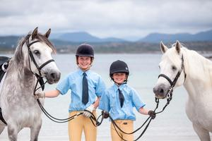 Catherine Gorton (14) from Oughterard and her first cousin Sadbh O'Toole (11) from Clifden at the launch of the 91st Clifden Connemara Pony Show