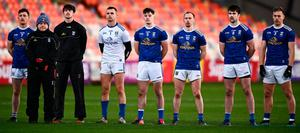 Cavan manager Mickey Graham and players stand for Amhrán na bhFiann prior to the Ulster SFC final against Donegal at the Athletic Grounds in Armagh