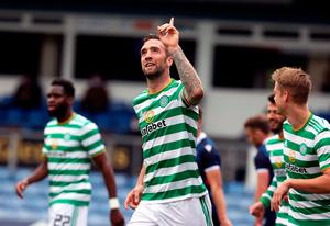 Celtic's Shane Duffy celebrates scoring his side's third goal of the game against Ross County during the Scottish Premiership match at the Global Energy Stadium, Dingwall. PA Photo