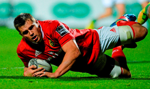 CJ Stander scores Munster's second try in the Pro12 game against Benetton Treviso at Irish Independent Park last weekend