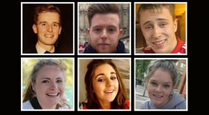 The six students who lost their lives in the tragic accident, top left to bottom right: Lorcan Miller, Eoghan Culligan, Nick Schuster, Ashley Donohoe, Eimear Walsh and Olivia Burke