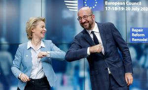 New normal: European Commission President Ursula von der Leyen and European Council President Charles Michel do an elbow bump at the end of the summit. Photo: Stephanie Lecocq/Pool via REUTERS