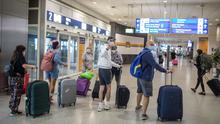 Tourists from the United Kingdom arrive at Athens International Airport after pandemic-related restrictions were lifted by Greece. AP Photo/Petros Giannakouris