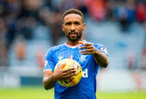 Rangers Jermain Defoe with the matchball after scoring a hat-trick in the the Ladbrokes Scottish Premiership match at Ibrox Stadium, Glasgow. PA Photo. Picture date: Sunday October 6, 2019. See PA story SOCCER Rangers. Photo credit should read: Jeff Holmes/PA Wire. EDITORIAL USE ONLY