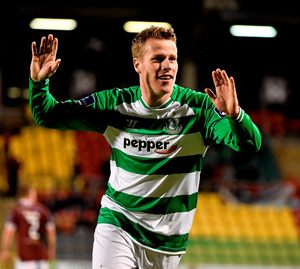 Danny North celebrates after scoring Shamrock Rovers' second goal