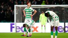 Kristoffer Ajer of Celtic reacts after conceding the second goal during the UEFA Europa League against FC Kobenhavn at Celtic Park. (Photo by Ian MacNicol/Getty Images)